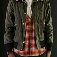 Monitaly Oilcloth Flight Jacket- Olive