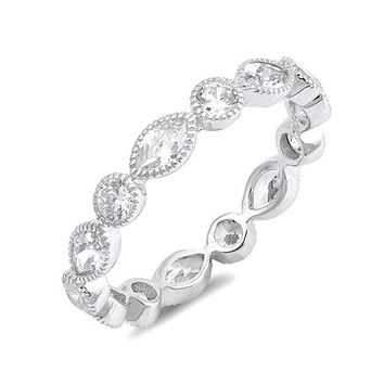 Sterling Silver CZ Marquise and Round Eternity Ring