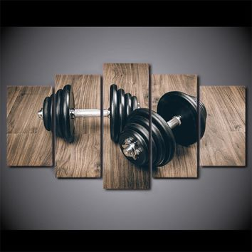 Fitness Bodybuilding Gym  Canvas Print Dumbbells Inspirational Wall Print