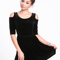 COLD SHOULDER VELVET SKATER DRESS