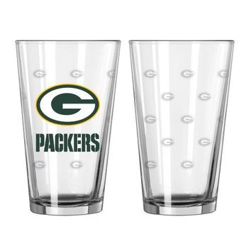 NFL Unisex Satin Etch Pint Glass Set Pack of 2 16Ounce