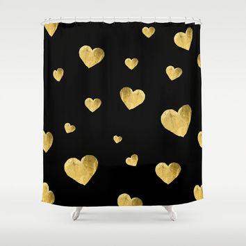 Floating Hearts - Fabric Shower Curtain  - black, gold, golden, hearts, floating, RDelean Designs