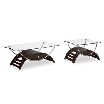 Global Furniture USA T63 Meryl 2 Piece Clear Glass Coffee Table Set in Wenge w/ Chrome Legs