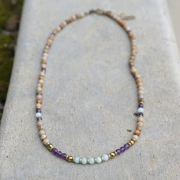 Jasper, Amethyst, and Amazonite Delicate Necklace