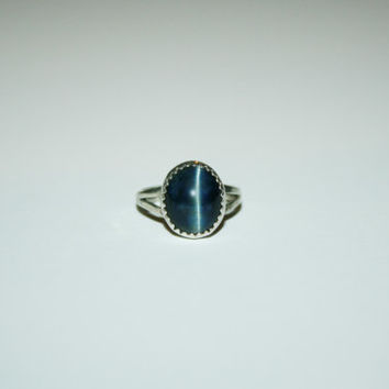 Size 5.5- Navy Blue Tiger Eye Vintage Womens Ring Sterling Silver- free ship US
