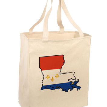 New Orleans Louisiana Flag Large Grocery Tote Bag