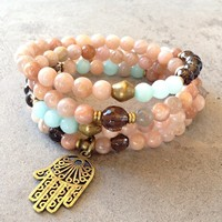 Joy and Positivity, Sunstone and Smoky Quartz 108 Bead Mala Necklace Or Bracelet