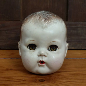 Vintage American Character Plastic Doll Head With Sleep Eyes Great Creepy Decor