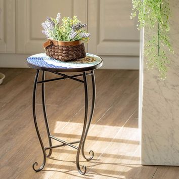 Giantex Outdoor Indoor Accent Table Plant Stand Scheme Garden Steel Ocean  Home Furniture OP3552NY