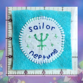 Sailor Neptune Patch, Sailor Moon Patch, Handmade Patch