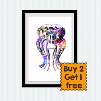 Jellyfish print Jellyfish poster Nautical decor Nautical wall art Jellyfish watercolor illustration Nautical nursery art Home decor art W195