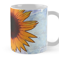 'Fantasy Sunflower with Blue Paper Texture' Mug by Art2Me