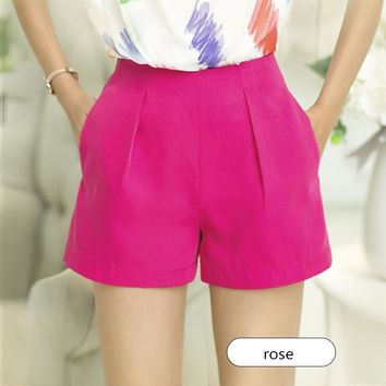 Women's Solid High Waist Shorts With Pockets