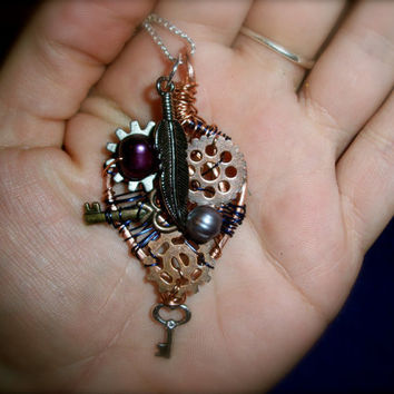 Steampunk Wire Wrapped Pendent Necklaces Free by moonknightjewels