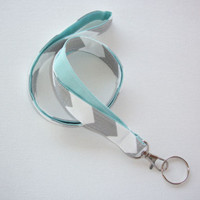 Lanyard Id Holder Key Leash badge holder - gray chevron white aqua blue