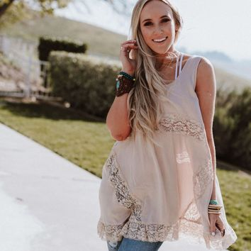 She Swings Lace Layering Top - Tan