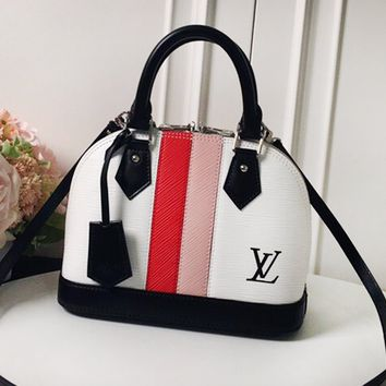 LV hot sales casual lady crocodile print contrast color white pink one-shoulder shopping bag