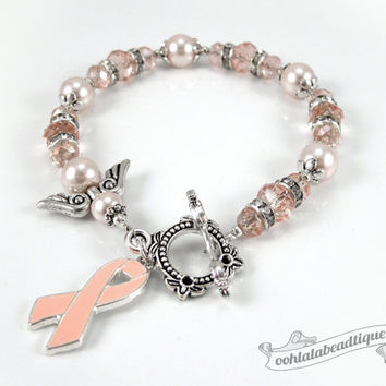 Uterine Cancer bracelet awareness jewelry Guardian Angel bracelet cancer awareness peach ribbon bracelet cancer jewelry ribbon awareness