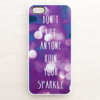 Art Bokeh iPhone 5 4 4S Case New Quote Typography Inspirational Purple Sparkle