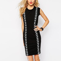 Black Bodycon Dress with White Stitching