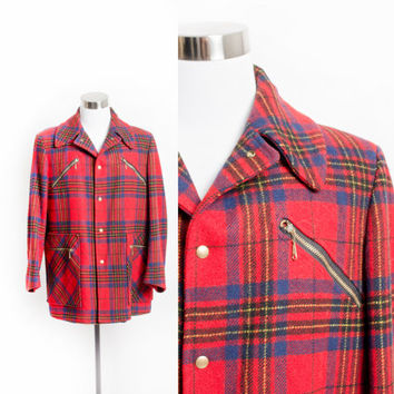 "Vintage 60s PENDLETON COAT - MEN'S Plaid Red Wool Pea Coat 46"" Large 1960s"