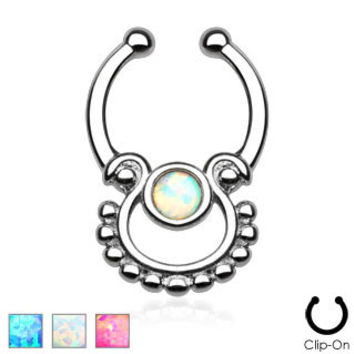 Single Opal Septum Hanger (Non-Piercing)