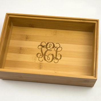Monogram Drawer Organizer store your jewelry, cellphone keys etc Monogrammed Storage made from wood