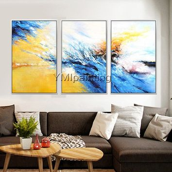 Abstract acrylic Navy Blue and yellow painting on canvas extra Large 3 pieces Wall Art Picture for living room Home Decor Cuadros abstractos