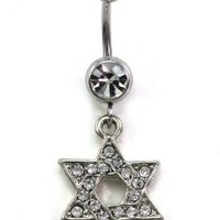 Jewish Star of David Dangle Belly Button Navel Ring Clear Rhinestones Body Fashion Jewelry 14 Gauge