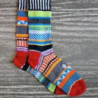 Made to Order  Hand knit unique REVERSED multi color by LizSox