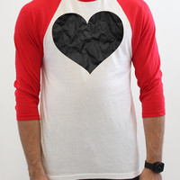Crumpled Black Heart - Black, Red, White & Other Color Options - Anti Valentines Day - Raglan 3/4 Sleeve T Shirt - 300