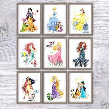 Disney princess print Set of 9 Disney watercolor wall decor Kids room wall art Nursery room decor Girls room decoration Disney poster V448