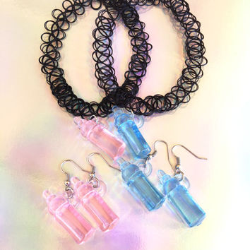 Baby Bottle Choker and Earrings, Baby Bottle Earrings, Cry Baby, Tattoo Choker, Kawaii, Pastel Grunge, Pastel Goth, Tumblr