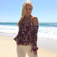 Coming Up Roses Off Shoulder Floral Blouse