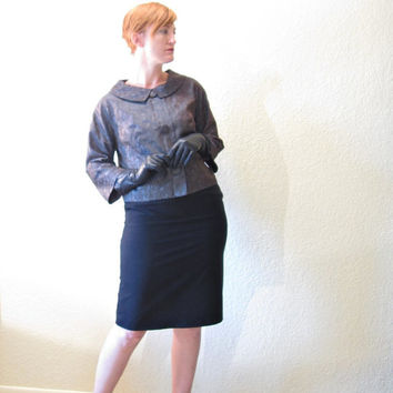 Vintage 50s Cropped Jacket. Pan Collar. Paisley. Teal Gray. Size S to M.