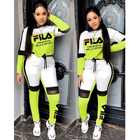 FILA Women Fashion Letter Pullover Sweater Pants Two-Piece