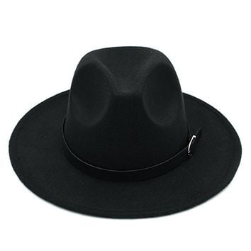 Men Women's Wool Blend Panama Hats Wide Brim Fedora Trilby Caps Belt Buckle Band