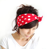 Tie Up Headscarf Red with White Polka Dot