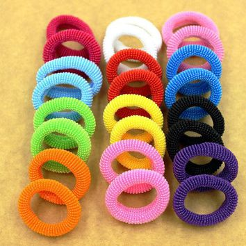 ONETOW New Fashion 80pcs/bag 30mm Colorful Child Kids Bright Hair Holders Rubber Bands Hair Elastics Accessories Girl Charms Tie Gum