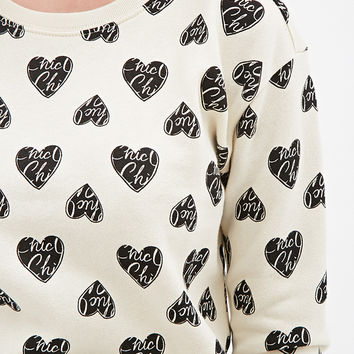 Heart Letters Print Sweater