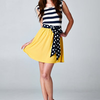 Polka Dot & Stripe Dress Sunshine Yellow