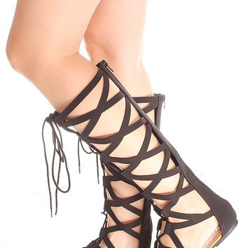 BLACK MULTI CUTOUT LOOK LACE DESIGN BACK ZIPPER GLADIATOR KNEE HIGH SANDALS