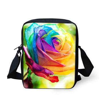 FORUDESIGNS Casual 3D Rose Flower Messenger Bag for Women Leisure Small Female Cross Body Shoulder Bag Youth Girl Satchel Bolsas