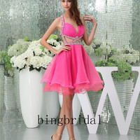 Sheath/Column Sweetheart Chiffon Satin beads Short/Mini Prom Party Dress