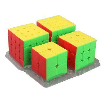 Moyu MofangJiaoshi 4pcs/set 2*2,3*3,4*4,5*5 Smooth Speed Stickerless Cube Puzzle Brain Teaser Magic Cube Hand Spinner Toys