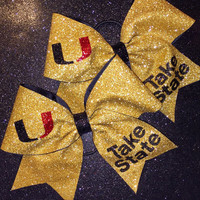 "The GOLD BALL BOW - 3"" Gold Glitter Cheer Bow"