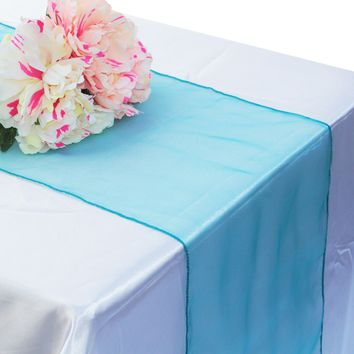 10pcs modern Organza Table Runner Soft Sheer Fabric Crystal Chair sashes Bows Swag for Wedding Party Banquet decoration