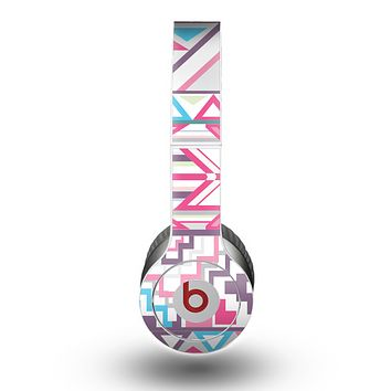 The Vector Pink & White Modern Aztec Pattern Skin for the Beats by Dre Original Solo-Solo HD Headphones