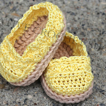 Summer Yellow Baby & Toddler Girl Espadrilles (Crochet baby shoes, Baby shower gift, Summer shoes, First birthday)