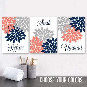 Navy Coral Gray BATHROOM WALL Art, CANVAS or Prints, Flower Bathroom Pictures, Relax Soak Unwind Quotes, Bathroom Quotes Set of 3 Pictures